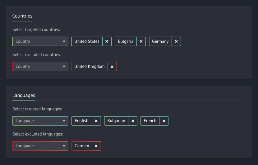 Targeting specific countries and languages tab